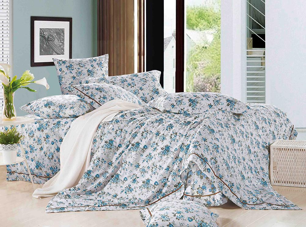 Купить Комплекты постельного белья Tango, Постельное белье Melissa (2 спал.), Китай, Белый, Голубой, Хлопковый сатин