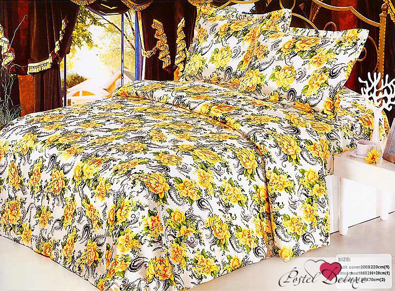 Купить Комплекты постельного белья Tango, Постельное белье Cis (2 сп. евро), Китай, Белый, Желтый, Атласный шелк