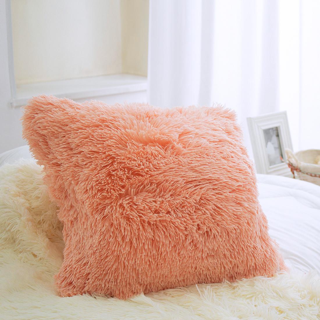 Купить Декоративные подушки Dome, Декоративная наволочка Taeppe Цвет: Абрикосовый (45х45), Дания, Искусственный мех