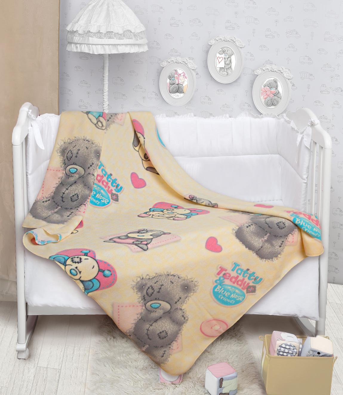 Купить Покрывала, подушки, одеяла для малышей Mona Liza, Детский плед Teddy и Голубоносики (150х200 см), Россия, Персиковый, Серый, Синтетический флис