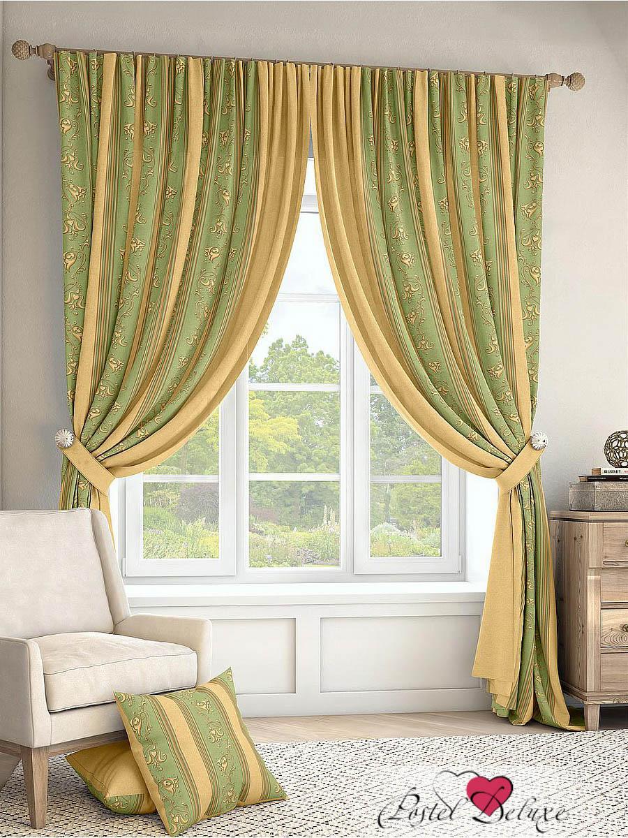 Купить Шторы ТомДом, Классические шторы Лекс Цвет: Зеленый, Россия, Желтый, Зеленый, Портьерная ткань