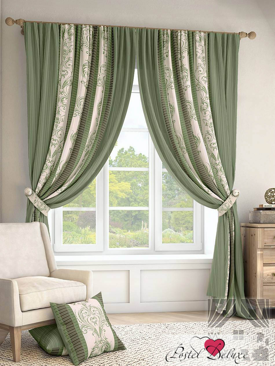 Купить Шторы ТомДом, Классические шторы Иниц Цвет: Зеленый, Россия, Портьерная ткань