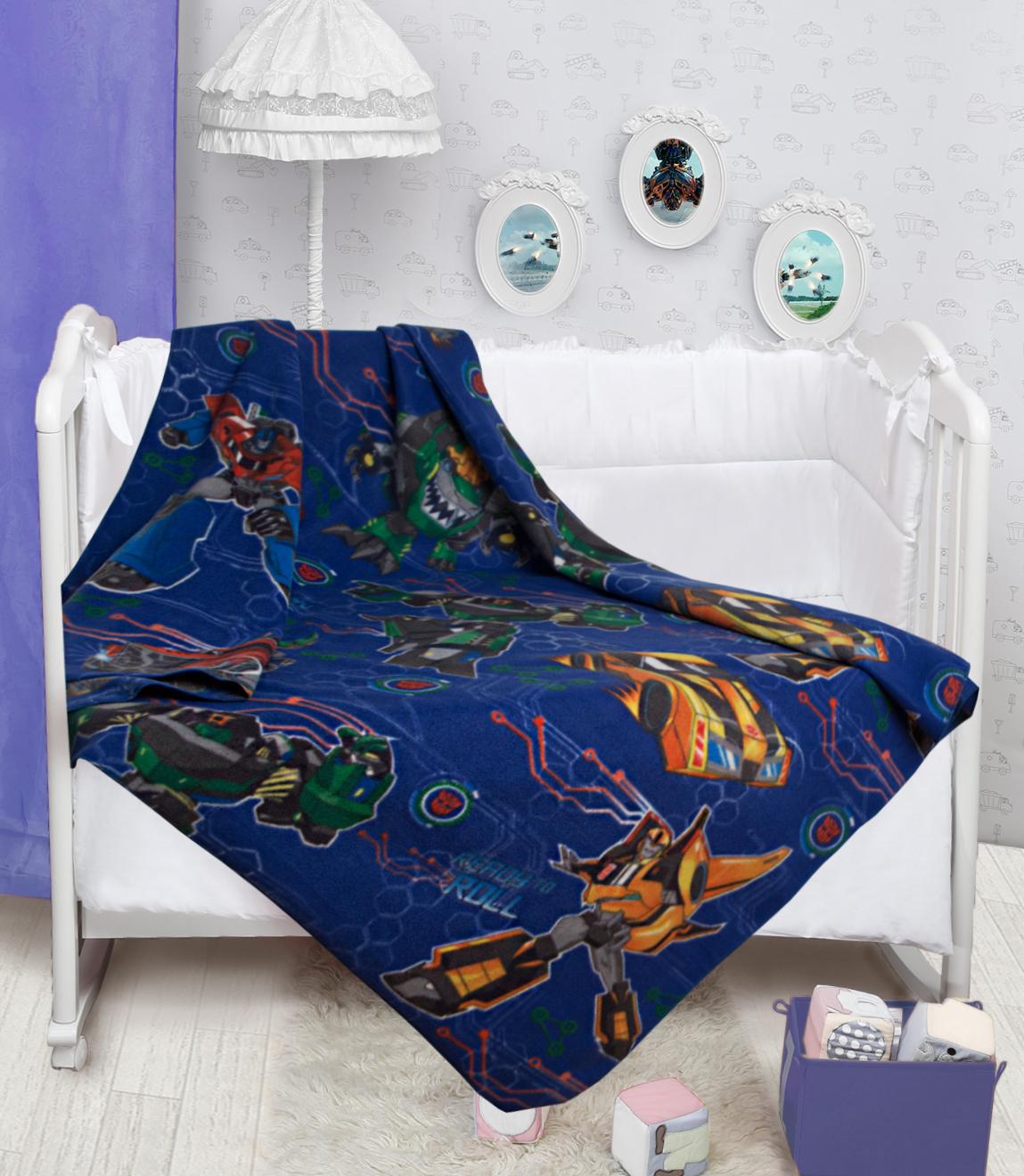 Купить Покрывала, подушки, одеяла для малышей Mona Liza, Детский плед Автоботы (150х200 см), Россия, Оранжевый, Синий, Синтетический флис