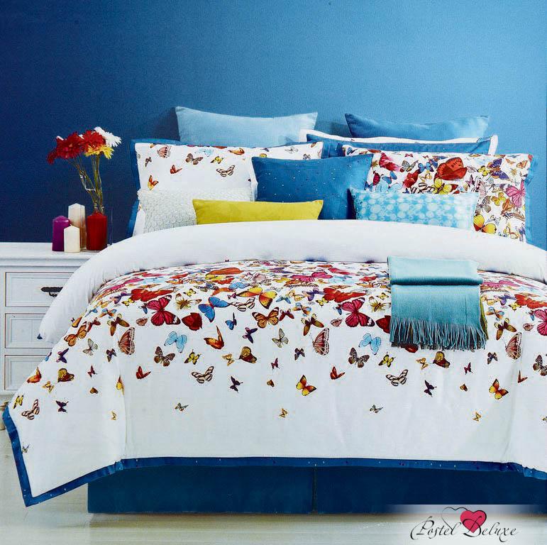 Купить Комплекты постельного белья Valtery, Постельное белье Carlisle(семейное), Китай, Белый, Голубой, Хлопковый сатин