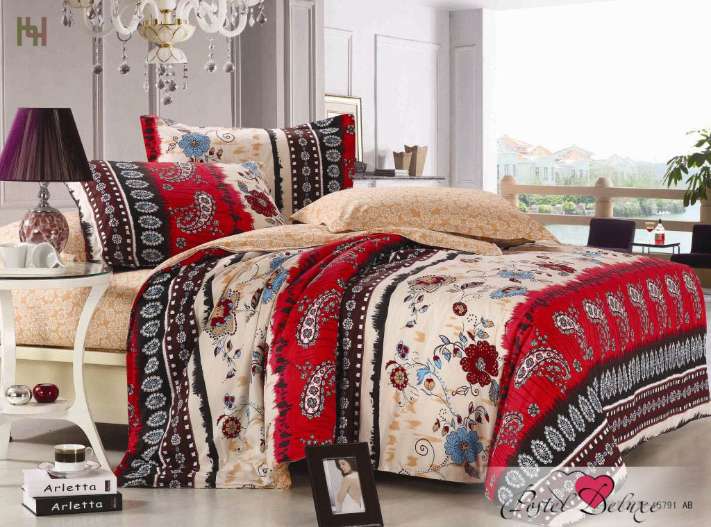 Купить Комплекты постельного белья Valtery, Постельное белье Cora (1, 5 спал.), Китай, Бежевый, Бордовый, Красный, Хлопковый сатин