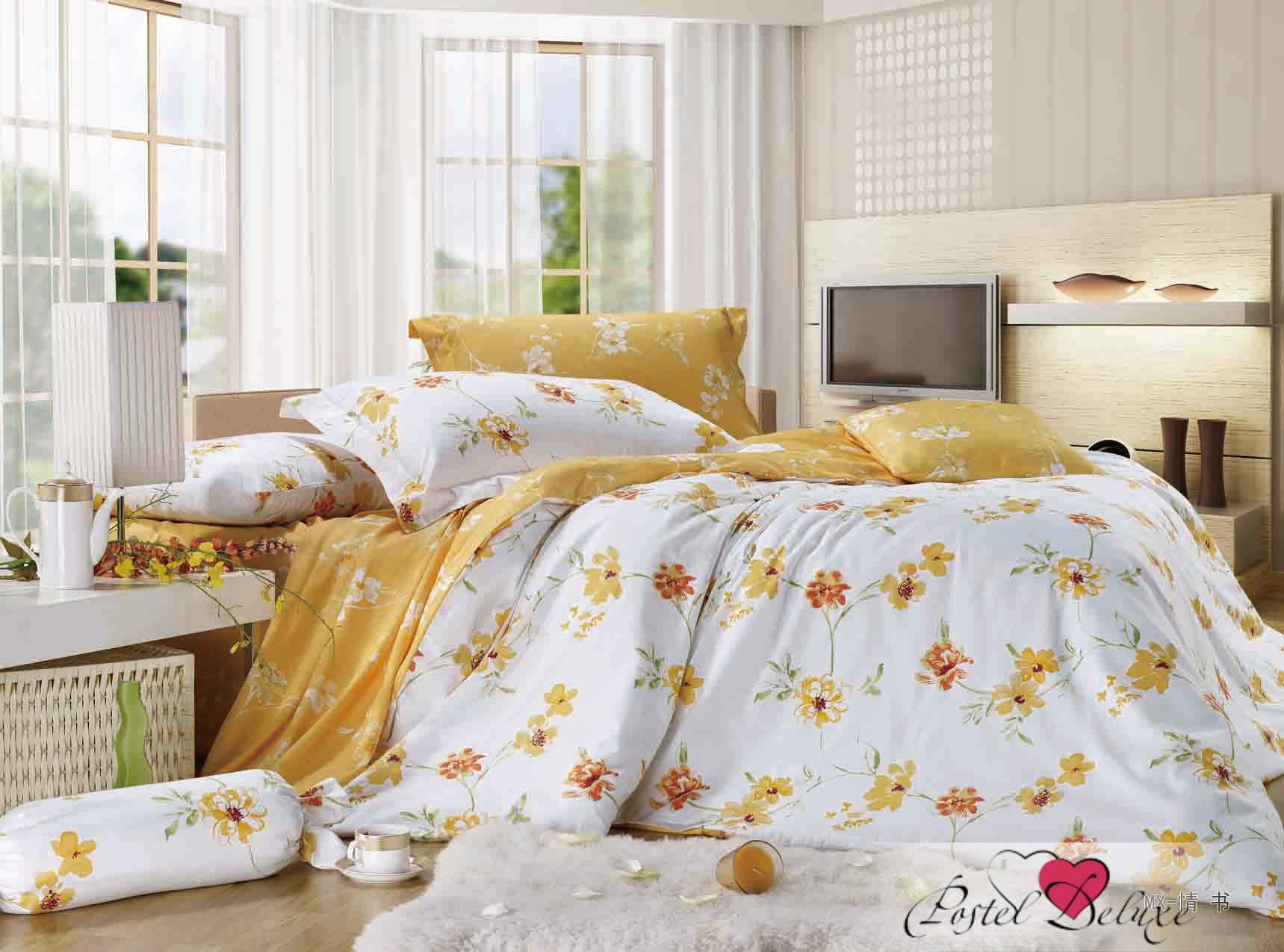 Купить Комплекты постельного белья Valtery, Постельное белье Maia (семейное), Китай, Белый, Голубой, Желтый, Золотой, Хлопковый сатин