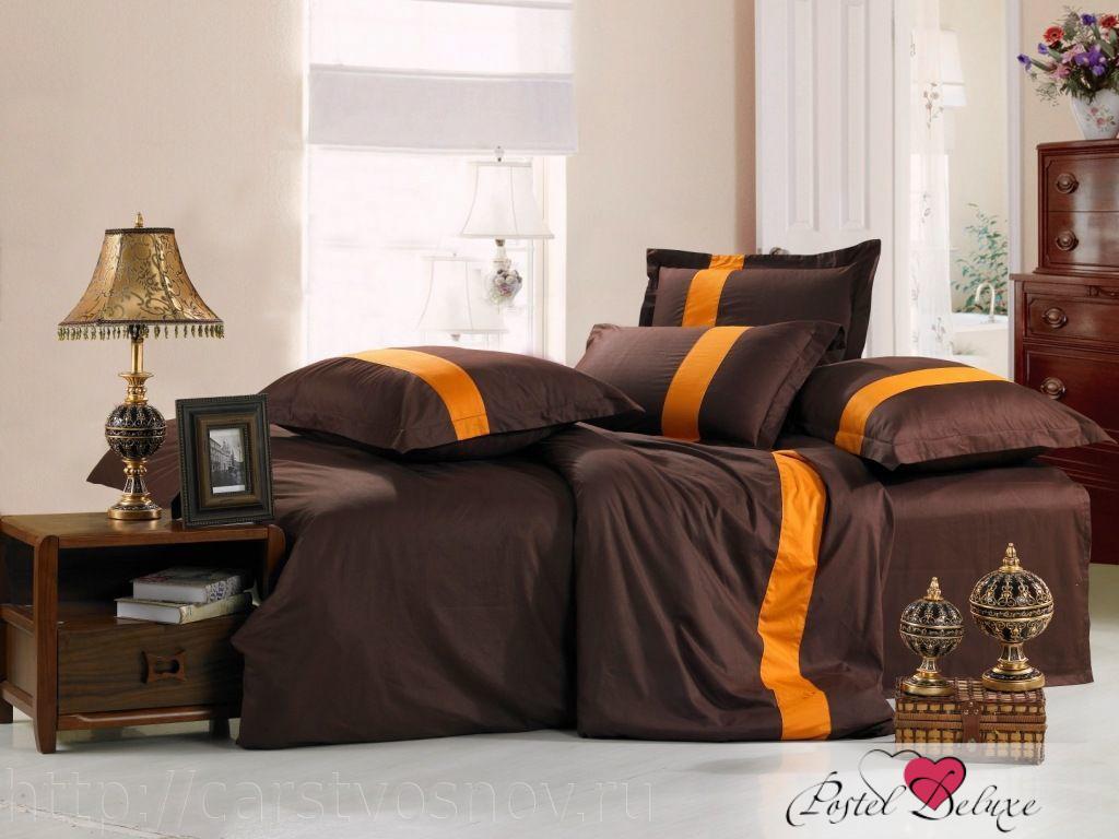 Купить Комплекты постельного белья Valtery, Постельное белье Querida (семейное), Китай, Коричневый, Оранжевый, Хлопковый сатин