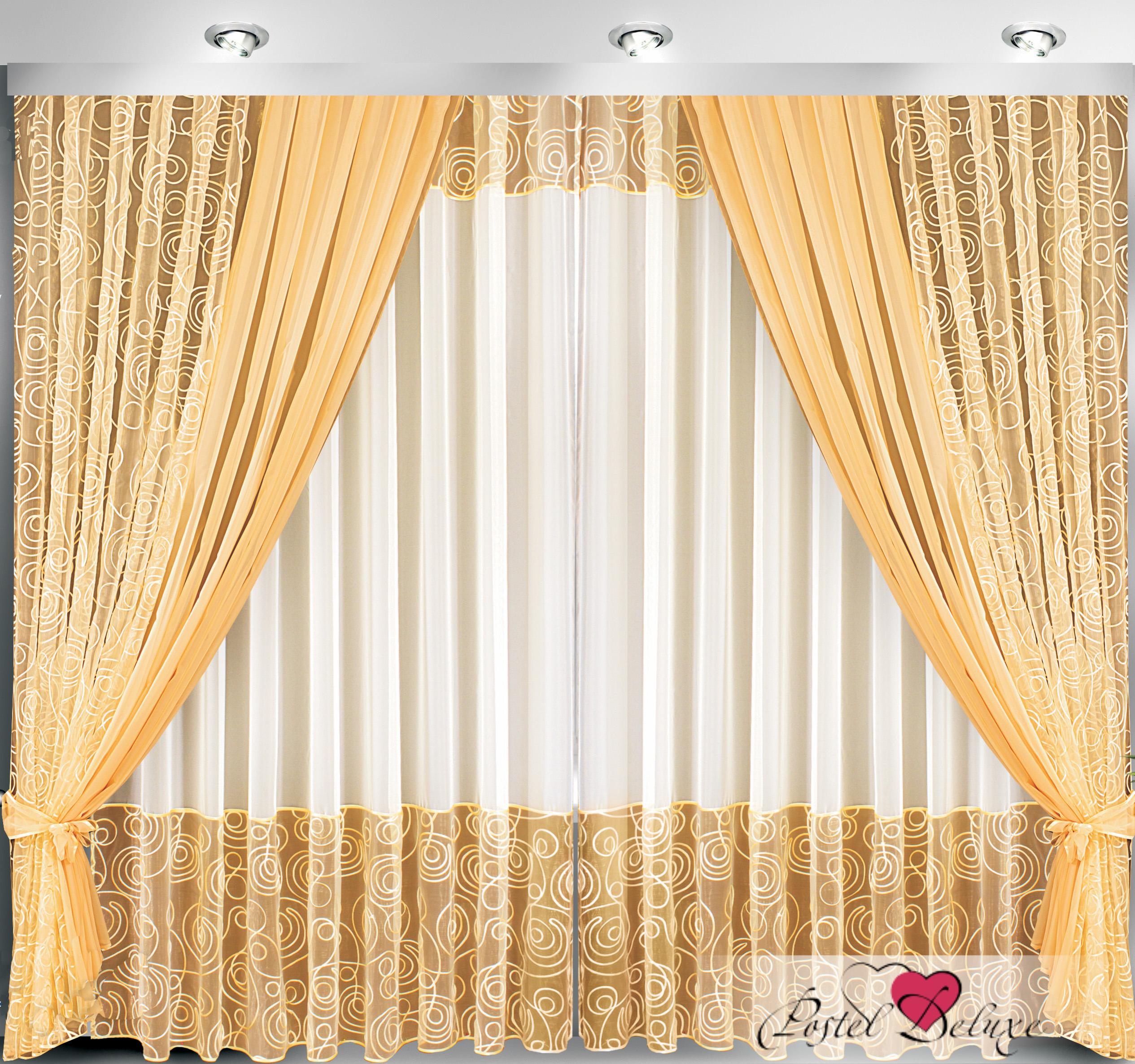 Купить Шторы Велес, Классические шторы Сапфир, Беларусь, Золотой, Персиковый, Вуаль, Органза