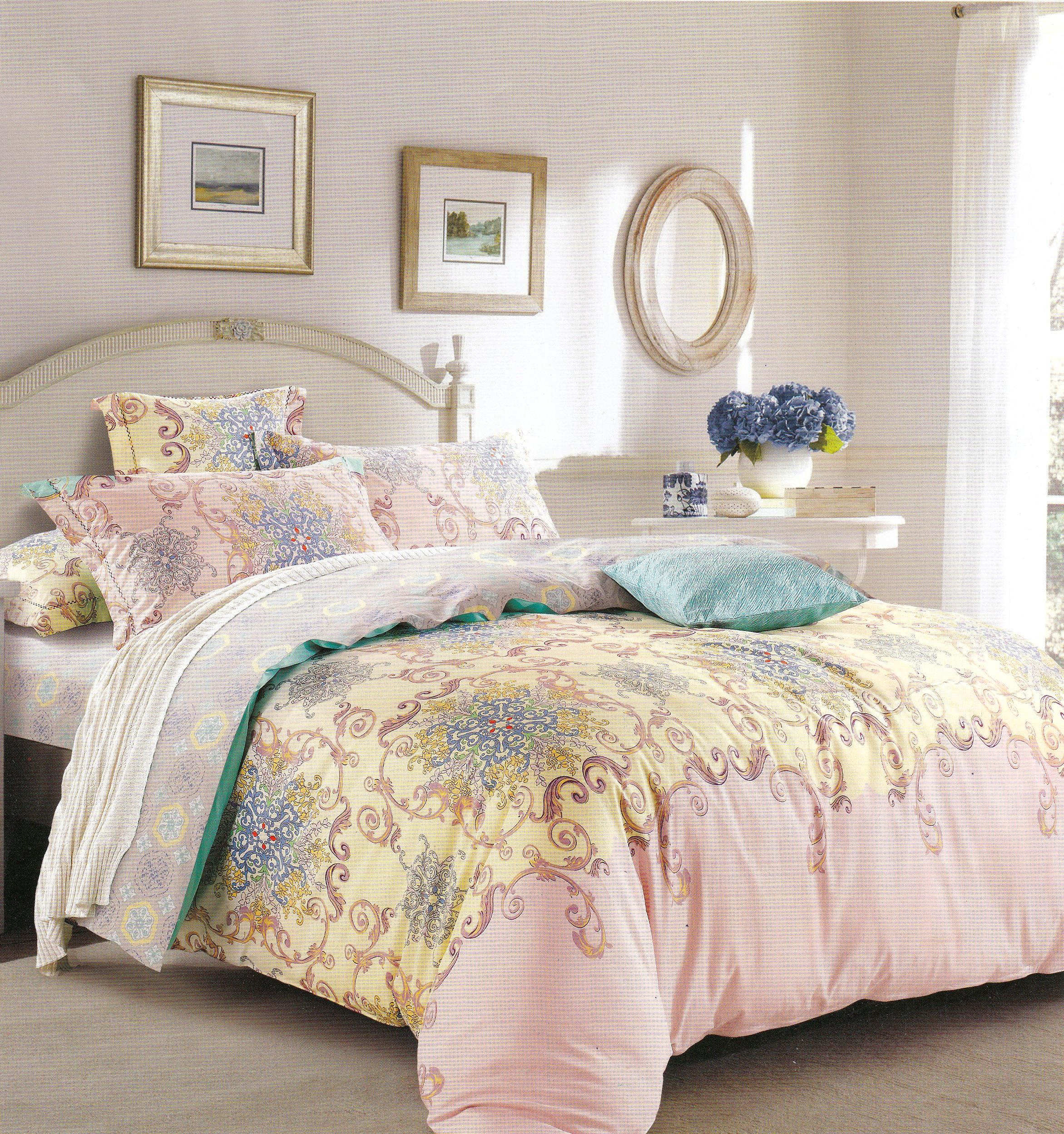 Комплекты постельного белья DO'n'CO, Постельное белье Vespa (2 сп. евро), Турция, Желтый, Розовый, Хлопковый сатин  - Купить