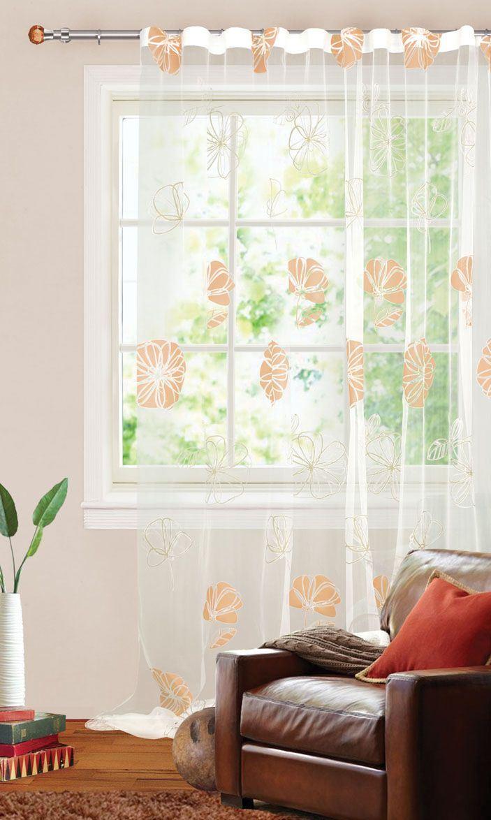 Купить Шторы Garden, Классические шторы Ceara Цвет: Бежевый, Турция, Органза