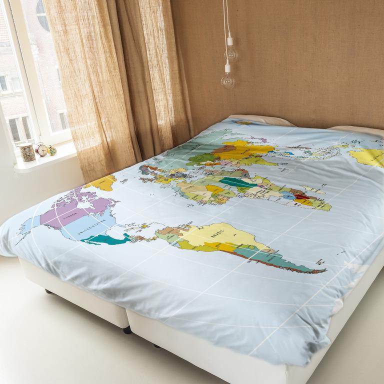 Комплекты постельного белья NEWTONE Постельное белье Карта Мира (1,5 спал.)