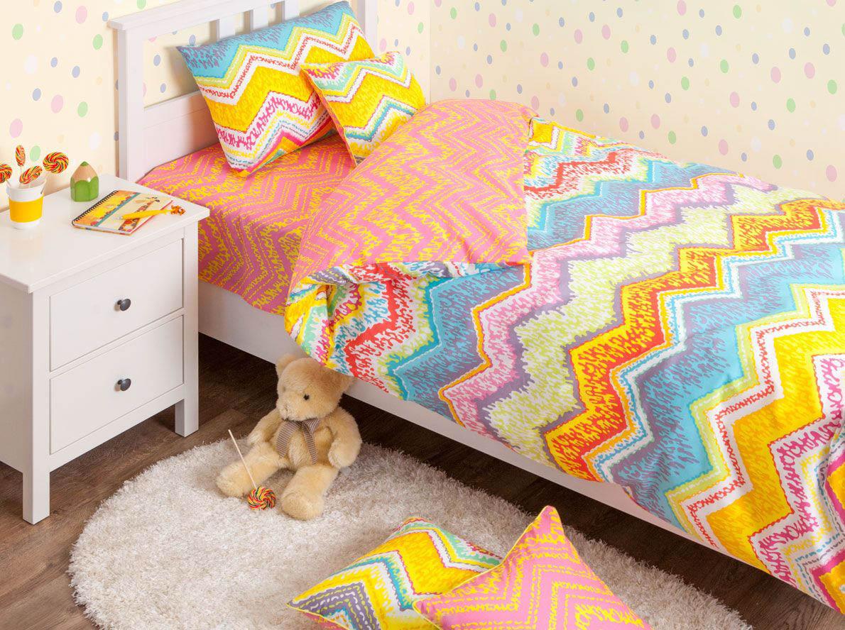 Купить Детское постельное белье Хлопковый Край, Постельное белье Zigzag Цвет: Оранжевый (140х205 см), Россия, Голубой, Желтый, Оранжевый, Ранфорс